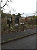 TL2460 : Village notice board, telephone kiosk & Croxton village postbox by Adrian Cable