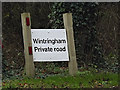 TL2159 : Wintringham Private Road sign by Adrian Cable