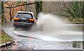 J3268 : Flooded road, Minnowburn, Belfast by Albert Bridge