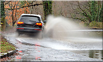 J3268 : Flooded road, Minnowburn, Belfast by Albert Bridge