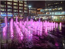 SJ8498 : Piccadilly Gardens Fountains at Christmas (2) by David Dixon