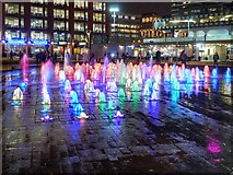 SJ8498 : Piccadilly Gardens Fountains at Christmas (4) by David Dixon
