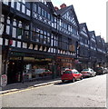 SJ4066 : Row of black and white shops, St Werburgh Street, Chester by Jaggery