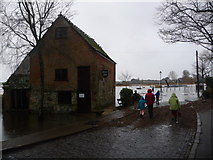 SZ1592 : Christchurch: Place Mill and the flooded quay by Chris Downer