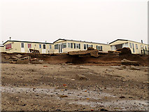 TA4115 : Storm damaged caravans at Kilnsea by Stephen Craven