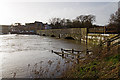 SZ1393 : Jan 2014: the flooded River Stour at the old Iford Bridge (5) by Mike Searle
