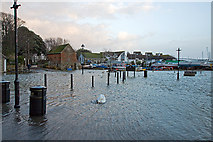 SZ1592 : Jan 2014: flooding at Christchurch Town Quay (1) by Mike Searle