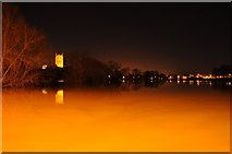 SO8832 : Tewkesbury Abbey and flood at night by Philip Halling
