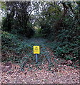 SU4707 : Yellow warning notice on a disused railway track in Hamble-le-Rice by Jaggery