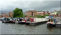 SO8171 : Narrowboats in Stourport Upper Basin, Worcestershire by Roger  Kidd