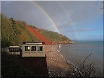 SX9265 : Oddicombe Beach with double rainbow by David Hawgood