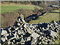 NT7760 : A collapsed drystane dyke by Walter Baxter