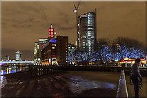 TQ3180 : Oxo Tower, South Bank towards Blackfriars Bridge, London by Christine Matthews