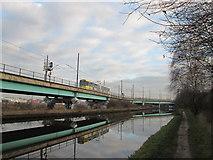 SJ8196 : Metrolink and the Bridgewater Canal near Pomona by John Slater