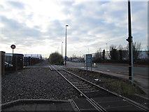 SJ7996 : Railway beside Europa Way, Trafford Park by John Slater