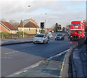 ST3090 : Red former London Transport double-decker in Malpas, Newport by Jaggery