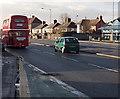 ST3090 : Back of a red former London Transport double-decker in Malpas, Newport by Jaggery
