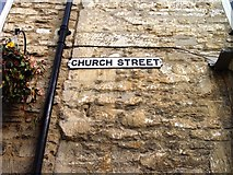 ST8993 : Old sign for Church Street Tetbury by Paul Best