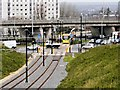 SD9204 : Metrolink Tramway, Oldham Way Flyover and Manchester Square Roundabout by David Dixon