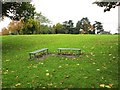 SO8886 : King George V Park - two bench seats, Wordsley, Stourbridge by P L Chadwick