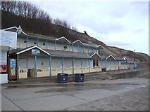 TA1280 : Beach huts and slipway, Coble Landing, Filey by JThomas