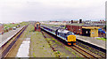 SH9478 : Abergele & Pensarn station, with Down express 1993 by Ben Brooksbank