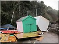 SX9676 : Damaged beach huts, Dawlish by Derek Harper