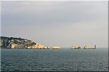 SZ2984 : West High Downs, The Needles and the Needles Lighthouse, Isle of Wight, viewed from P&O's Adonia - 1 by Terry Robinson