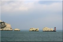 SZ2984 : West High Downs, The Needles and the Needles Lighthouse, Isle of Wight, viewed from P&O's Adonia - 2 by Terry Robinson