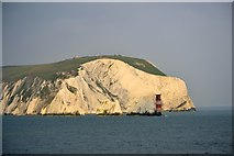 SZ2984 : West High Downs, The Needles and the Needles Lighthouse, Isle of Wight, viewed from P&O's Adonia - 4 by Terry Robinson