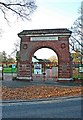 SO8456 : Gheluvelt Park - main gate, Barbourne Road, Worcester by P L Chadwick