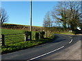 SO4714 : Junction and bend in the road, near Redhouse Farm, Rockfield by Ruth Sharville