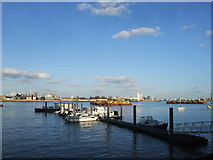 TQ3979 : Boats on the River Thames, Greenwich Peninsula by Chris Whippet