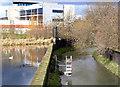 SK5539 : Waterwheel alongside Innovation Park by Alan Murray-Rust