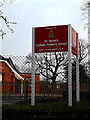 TM4189 : St.Benet's Catholic Primary School sign by Adrian Cable