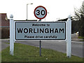 TM4489 : Worlingham Village Name sign on Lowestoft Road by Adrian Cable