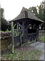 TM4489 : All Saints Church Lych Gate & footpath sign by Adrian Cable
