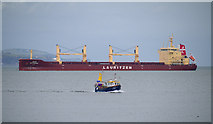 J5082 : Ship and boat off Bangor by Rossographer