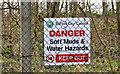 """J3477 : """"Danger Keep Out"""" sign, Belfast by Albert Bridge"""