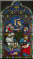 TG0135 : Detail, Stained glass window, St Mary's Gunthorpe by J.Hannan-Briggs