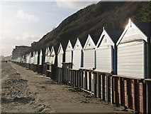 SZ1191 : Boscombe: beach huts to the east of Honeycombe Chine by Chris Downer