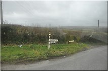 SX0566 : North Cornwall : Stony Lane Signpost by Lewis Clarke
