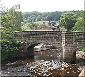 SD9927 : River and Old Bridge, Hebden Bridge by Linden Milner