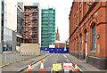 "J3374 : Curtis Street and ""Block B"", University of Ulster site, Belfast - March 2014(1) by Albert Bridge"