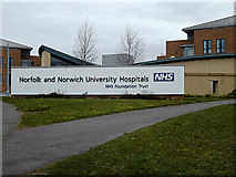 TG1807 : Norfolk & Norwich University Hospitals sign by Adrian Cable
