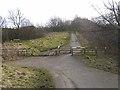 NZ1055 : Barrier on the Derwent Walk above Ebchester by Oliver Dixon
