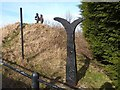 """NZ1351 : NCN milepost at the """"Jolly Drovers"""", Leadgate by Oliver Dixon"""
