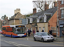 SK8608 : Temporary bus interchange and old cottage by Alan Murray-Rust