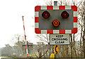 J2985 : Level crossing warning lights, Kingsbog Jct  near Ballyclare by Albert Bridge