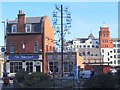NZ2463 : Shopping Trolley Sculpture & The Telegraph Pub, Forth Street by Andrew Curtis